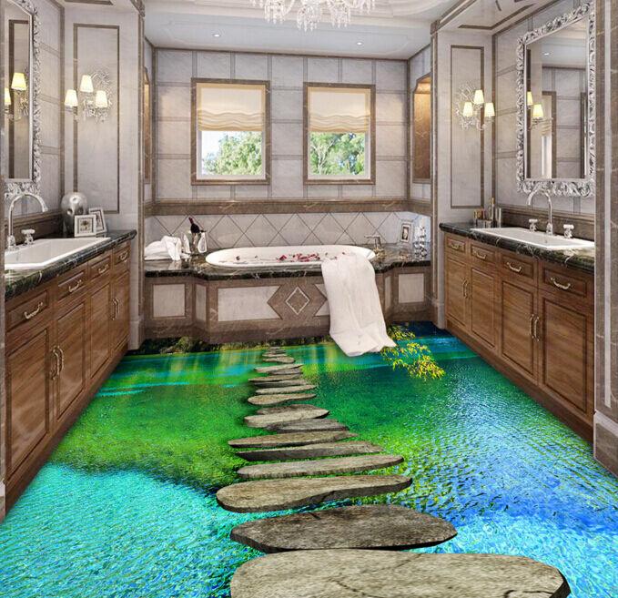 3D Pond Tree Stone Floor WallPaper Murals Wall Print Decal 5D AJ WALLPAPER