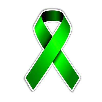 green ribbon mental health awareness ribbon vinyl sticker ...