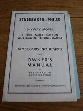 Studebaker Philco Skyway radio Owners Manual