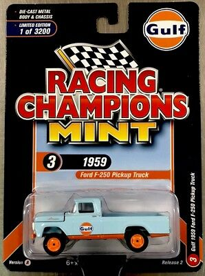 Racing Champions 1//64 1959 Ford F-250 Gulf Light Blue Die-Cast Car RC008