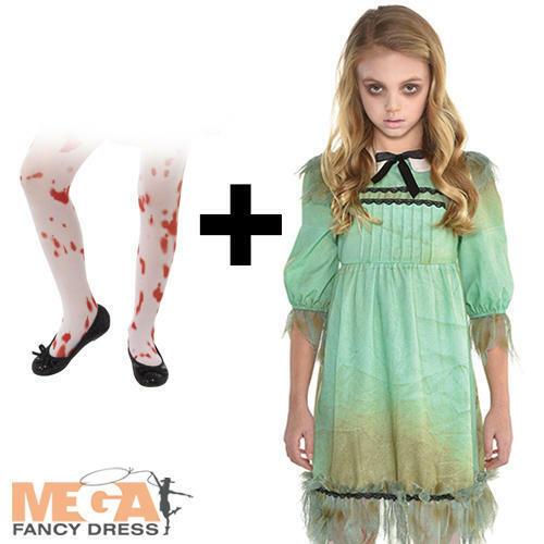 Creepy Dead Girl Tights Kids Fancy Dress The Shining Twin Halloween Costume