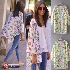 UK Summer Women Ladies Chiffon Kimono Cardigan Jacket Loose Beach ...