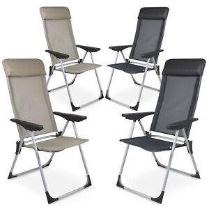 2 Pièces Aluminium Chaise de Jardin Pliante Camping Dossier Haut ...