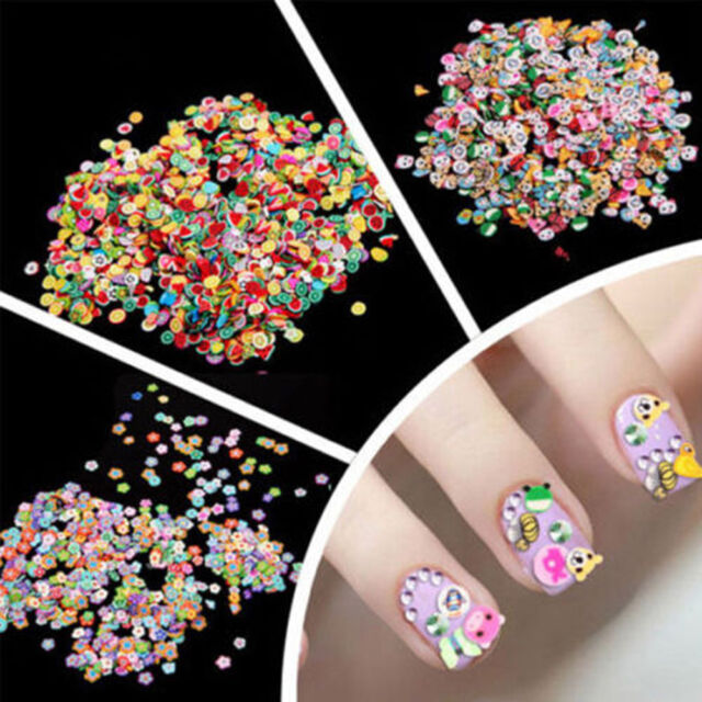 1000 DIY 3D Nail Art Tips Fimo Decoration Flower Animal Fruit Slice Clay Sticker
