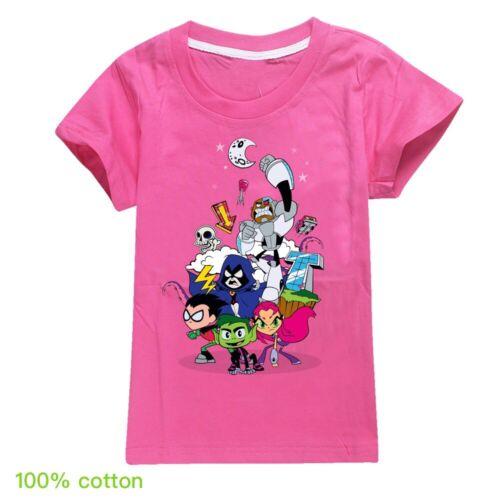 Neuf Enfants Garçons Filles Teen Titans Go à manches courtes T-shirt 100/% coton Tee Tops