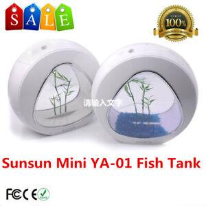 Sunsun-Mini-Aquarium-YA-01-Nano-Fish-Tank-White-Built-in-Filter-and-LED-Light