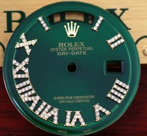 New-Custom-Green-Roman-Numeral-Diamond-Dial-To-Fit-Rolex-Day-date