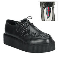 Demonia Creeper 402 Unisex Black Leather Creepers D-ring Punk Rockabilly Shoes