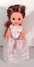 "BARBIE DOLL KELLY  5"" WHITE SATIN GOWN DRESS RED HAIR"