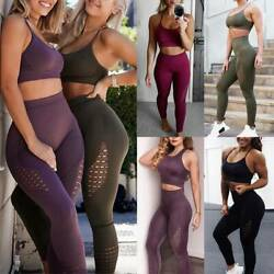 Damen Seamless Yoga Suit Sports Padded Bra Fitness Hosen GYM Leggings Tracksuits