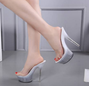 d1e83cf69c2 Details about Womens Super High Heel Clear Platform Mules Slip On Open Toe  Sandals Shoes Sexy