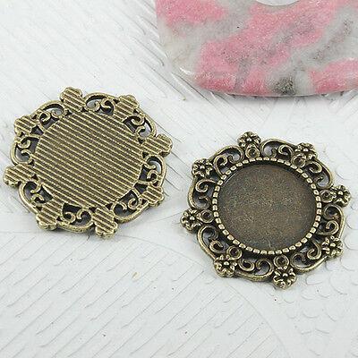 6pcs antiqued bronze color round flowers rim cabochon settings EF0750