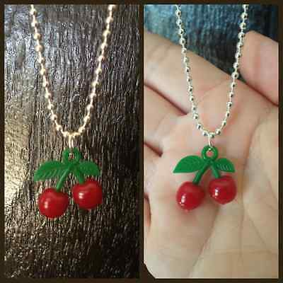 CHERRY BOMB Rockabilly NECKLACE Kitsch Kawaii Celeb Silver Plated Chain New