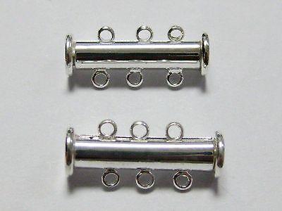 5 Silver Tone 3-Strands Necklace Bracelet Magnetic Slide Clasps 20mm