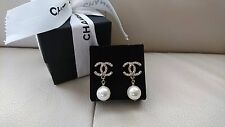 Authentic Chanel Classic CC Pearl Earrings