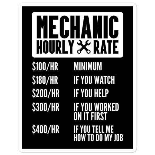 Mechanic Hourly Rate Sticker Funny Car Auto JDM Turbo Race Drift Tool Decal Men