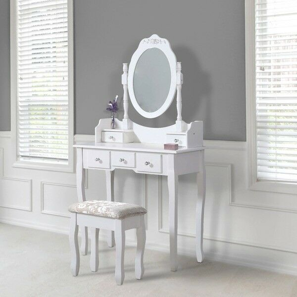 Avc Designs 5 Drawer Dressing Table With Oval Mirror Stool Set