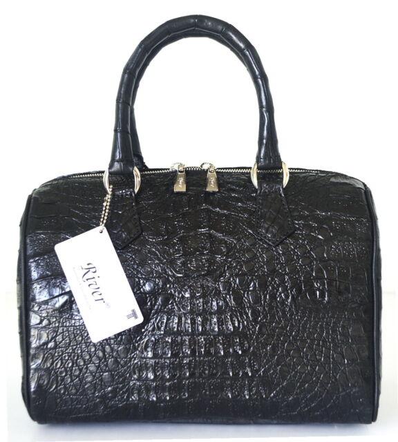 100 Hornback Genuine Crocodile Leather Handbag Clutch Bag Purse Black River