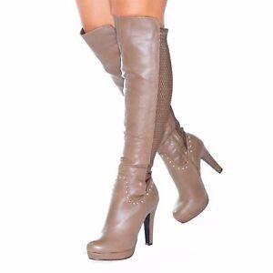 neuves sur le talon ᄄᄂ femme pour genou Bottines taille 6 aiguille R35j4LAq