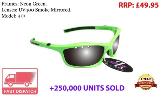 RayZor White Sports Wrap Sunglasses Uv400 Vented Smoke Mirrored Lens RRP£49 401