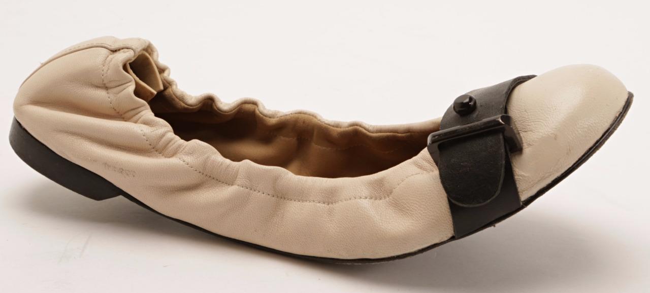 BARBARA BUI bottes en cuir beige bout rond élastique Ballet Plates Pantoufles 6.5-36.5