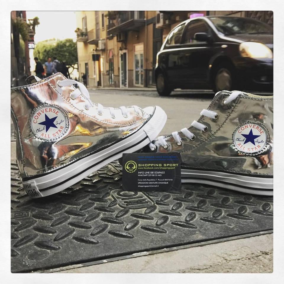 Moda barata y hermosa Converse All Star Clásico Plata Brillante plata HECHO A MANO Tachonada Tachuelas
