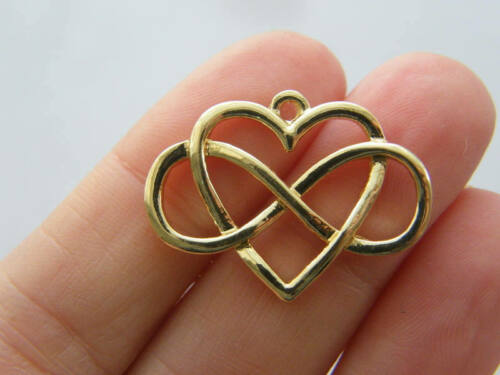 4 Infinity heart charms gold tone GC280