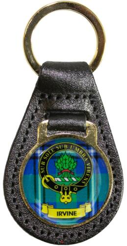 Leather Key Fob Scottish Family Clan Crest Irvine Made in Scotland