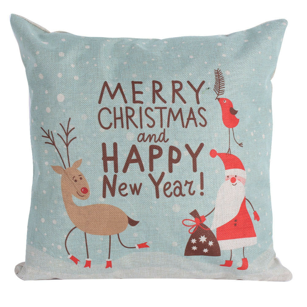 Christmas Xmas Linen Cushion Cover Throw Pillow Case Home: Merry Christmas Throw Pillow Covers Linen Cushion Cases