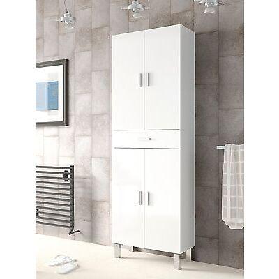 Columna armario de baño aseo con dos compartimentos y un cajon, color blanco