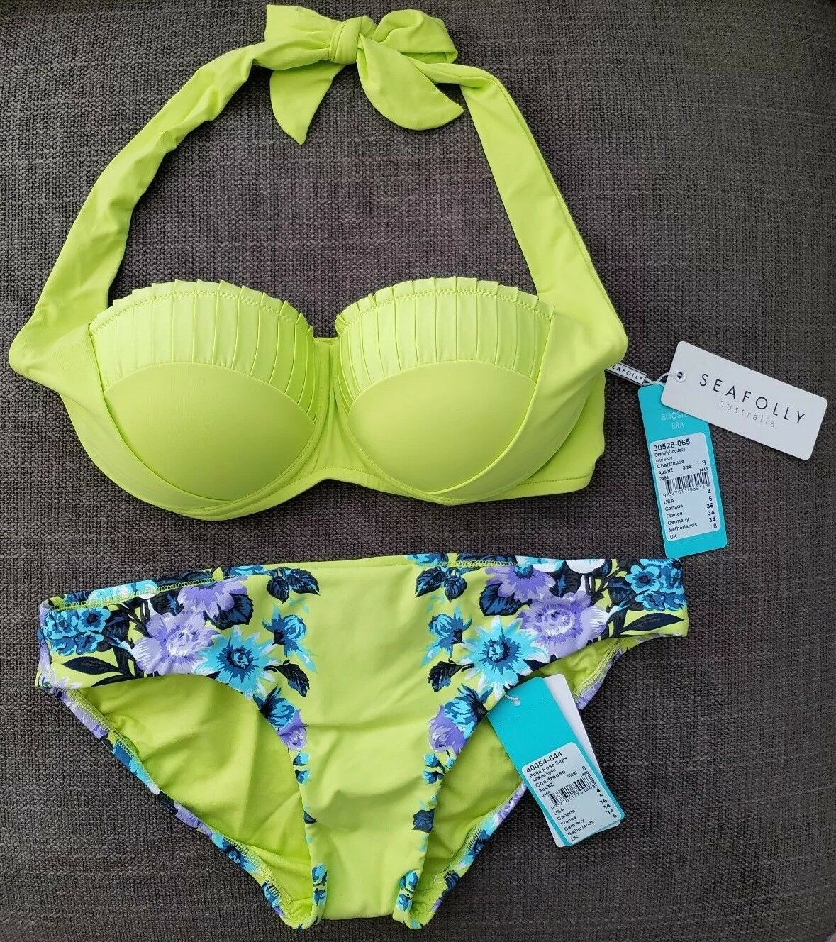 NWT 2-Pc Seafolly Goddess Halter Bustier & Bella pink Hipster, US 4, Chartreuse