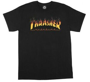 Thrasher-Magazine-BBQ-FLAMES-Skateboard-T-Shirt-BLACK-MEDIUM