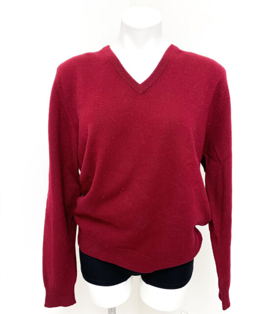 PRINGLE OF SCOTLAND Men's Cashmere Sweater V-Neck Red Made in Scotland 42