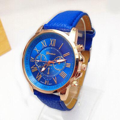 Fashion Chic Geneva Roman Numerals Analog Quartz Womens Faux Leather Wrist Watch
