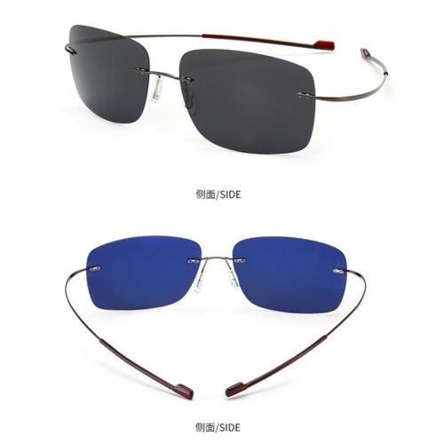 Rimless Sunglasses UV400 Titanium Frames Polarized Lens Ultralight Women Men Sun