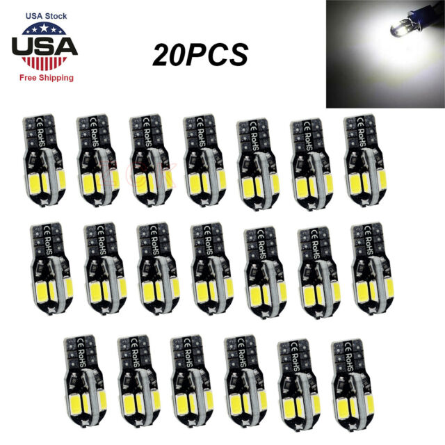 NEW 20pcs Canbus T10 194 168 W5W 5730 8 LED SMD White Car Side Wedge Light Bulb