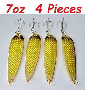 Crocodile spoon style 7oz Casting Spoons Fishing Lures Gold 2 Pieces