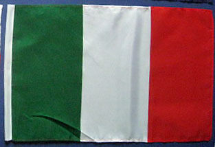 "ITALY 18"" x 12""  Cloth National  flag with hem"