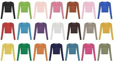 Womens Long Sleeve Crop Tops  Ladies T Shirt Top 8-14