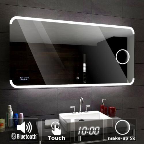 Assen Badspiegel mit LED Beleuchtung Wandspiegel  BLUETOOTH UHR SCHALTER