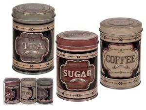 Round-Storage-Metal-Retro-Coffee-Tea-Sugar-Tins-Set-of-3-Vintage-Design