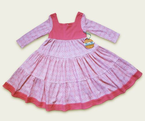 ORGANIC Cotton Pink Toddler Twirly Dress ~ Boho Hippy Indian ~ 2 3 4 5 6