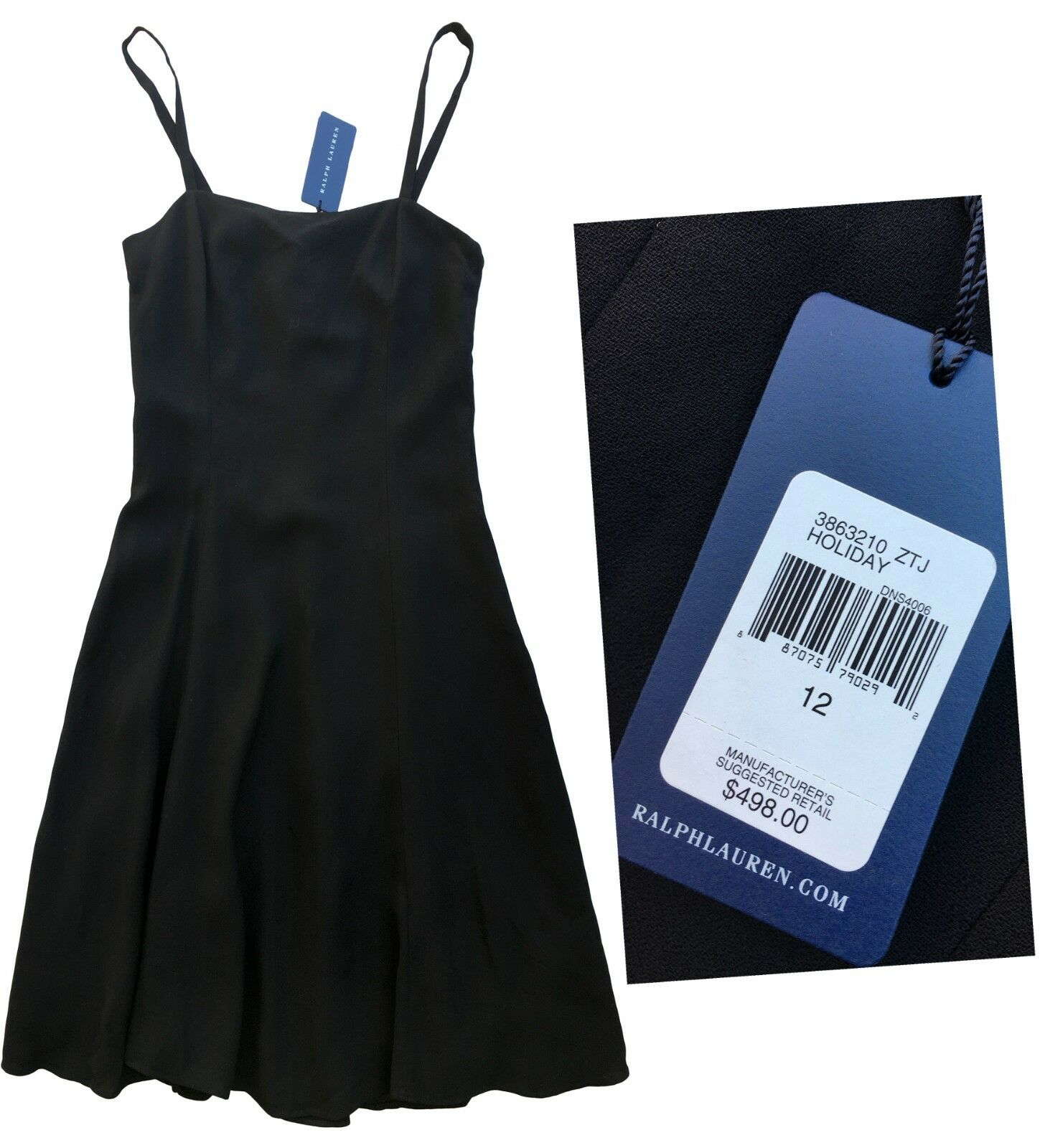 498 Ralph Lauren azul Label ella Negro Doble crepe de lana viscosa LBD Vestido 12  genuina alta calidad
