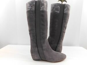 Tsubo-Galena-Gray-Suede-Wedge-Knee-High-Boots-Women-s-Size-8M