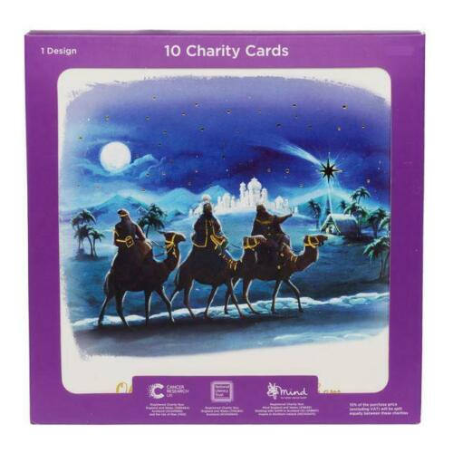 WHSmith Navy /& Gold 3 Wise Men Bethlehem Charity Christmas Cards Pack of 10