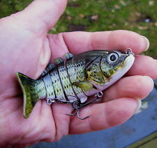 "4"" Multi Jointed Bass Fishing Lure Bait Crank Swimbait Life-like Panfish NEW grn"