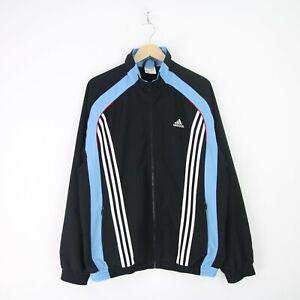 Vintage Retro Blue Adidas Windbreaker, Three Stipes, Full
