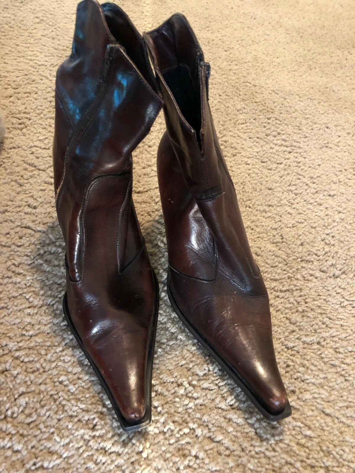 """Aldo 3"""" Leather Ankle Boot In Brown Size 39"""