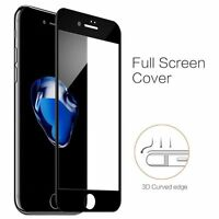 Black 3D Curved Full Cover Tempered Glass Screen Protector For iPhone 7