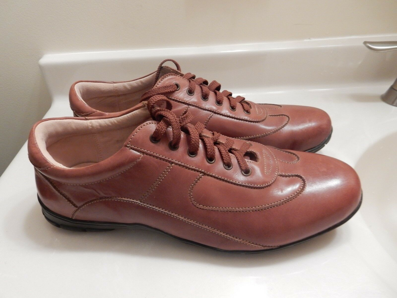 MEN'S LANDS' END BROWN LEATHER OXFORD SHOES SIZE 11M 243859